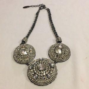 Chicos Stunning Circle Crystal Rhinestone Necklace